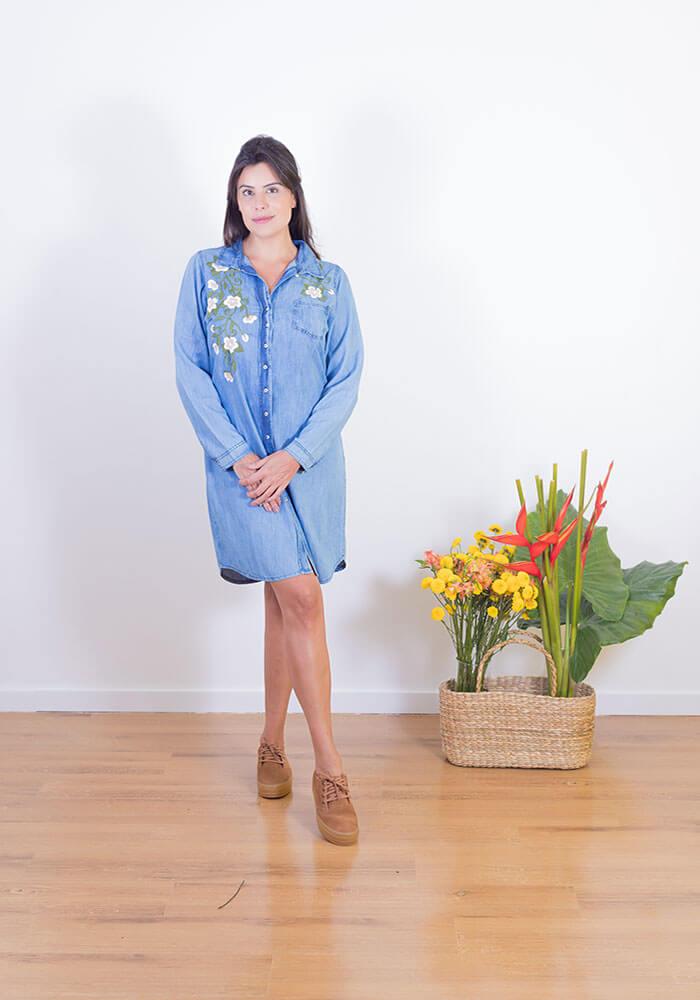 Vestido Jeans com Bordado Flores Brazoo