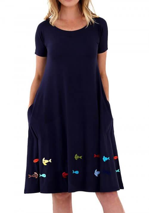 Vestidos bordados a mão - Bordado Peixinhos Coloridos