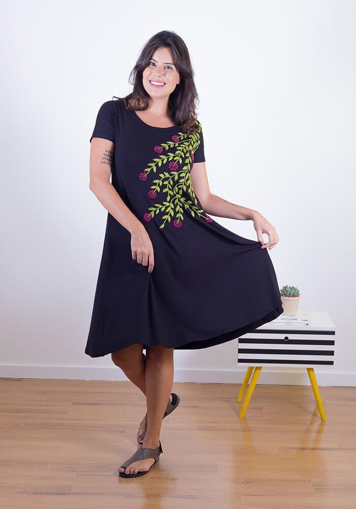 Vestido Bordado Flores